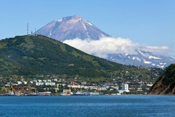 View of city Petropavlovsk-Kamchatsky, Avacha Bay and Koryaksky Volcano