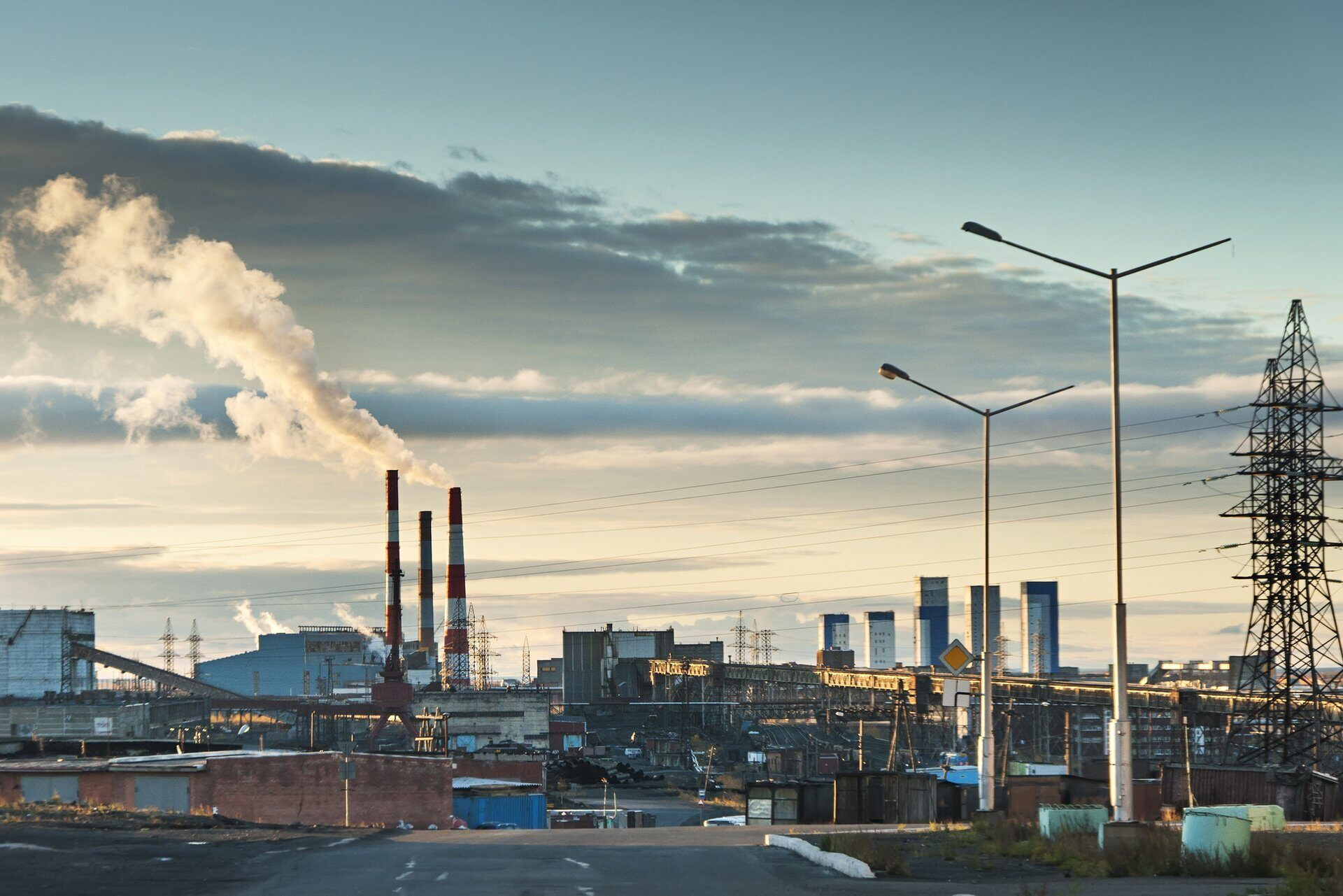 Industrial landscape. The  area of the city in the Arctic Circle.