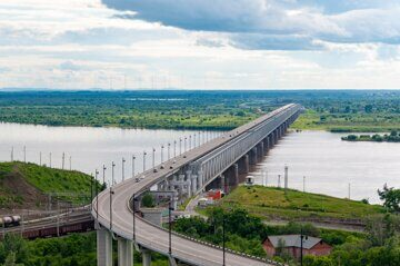 The bridge troght the river Amur
